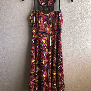 Aztec print mesh inset fit and flare dress